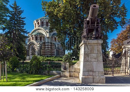 Cannon from the Russo-Turkish War of 1877-1878 and St. George the Conqueror Chapel Mausoleum, City of Pleven, Bulgaria