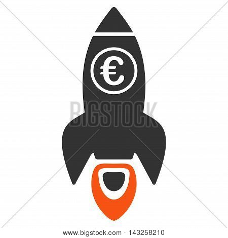 Euro Rocket Launch icon. Glyph style is bicolor flat iconic symbol with rounded angles, orange and gray colors, white background.