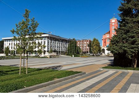 Panoramic view with town hall in center of city of Pleven, Bulgaria