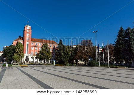 Panorama with town hall in center of city of Pleven, Bulgaria