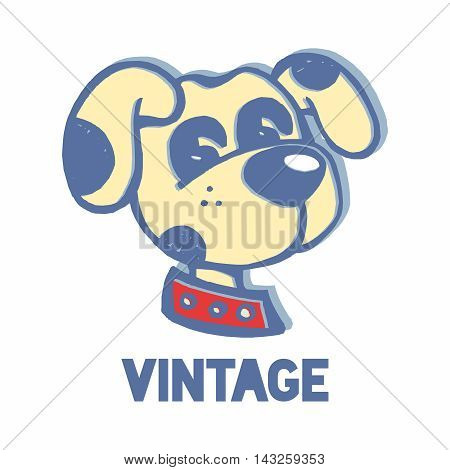 Vector Retro Vintage Dog Head Mascot, isolated on white background