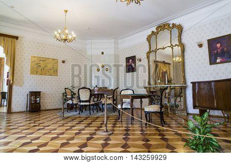 KARABIKHA, RUSSIA - JUNE, 28, 2016: The interior of the Nekrasov museum in Karabikha, which is a village in Yaroslavl oblast.