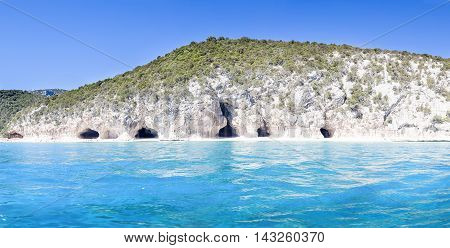 Panorama Of Cala Luna Caves In The Gulf Of Orosei Sardinia Italy