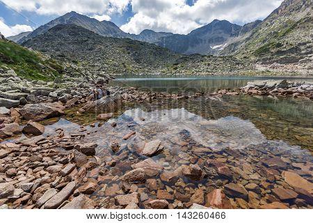 Amazing landscape with Reflection of Irechek and Musala peak in Musalenski lakes,  Rila mountain, Bulgaria
