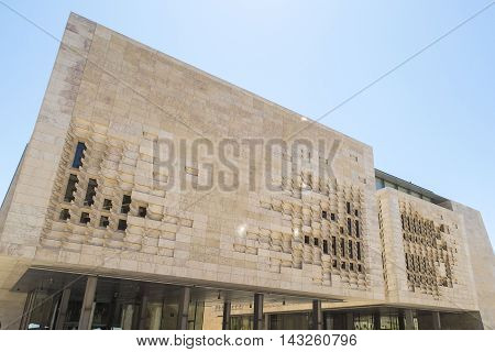Valletta Malta. The Parliament House. Exterior of the new Parliament in use from May 2015.