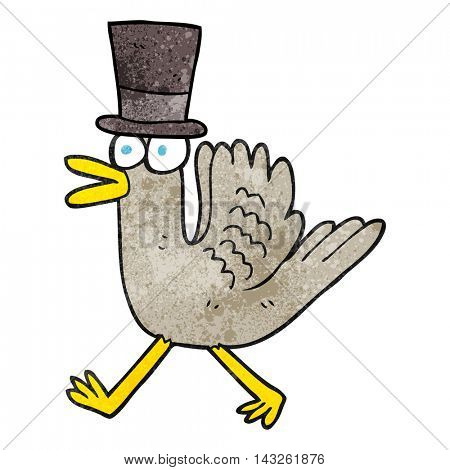 freehand textured cartoon duck in top hat