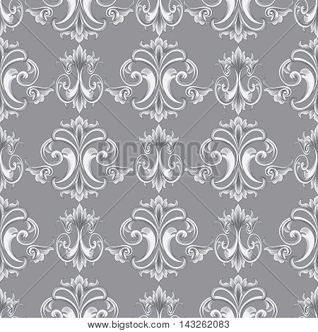 Light grey baroque seamless vector pattern background with elegant medieval baroque ornaments.Vintage luxury 3d floral elements with shadow and highlights.Decorative  design. Rich texture