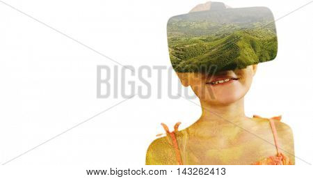 Close-up of girl wearing virtual simulator against view of beautiful landscape