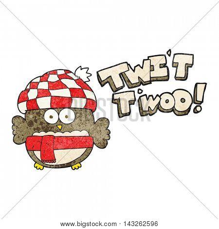 freehand textured cartoon cute owl saying twit twoo