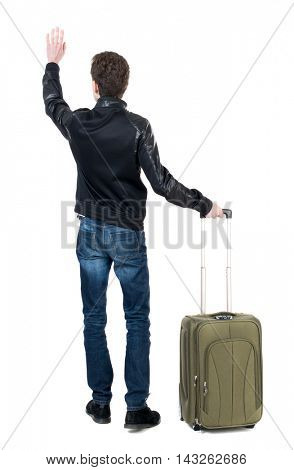 Back view of man with a bag greeting waving from his hands. Standing young guy. Rear view people collection.  backside view of person.  Isolated over white background. Curly short-haired guy in a