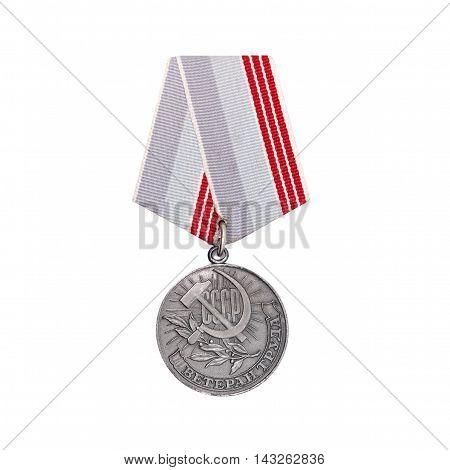 CHISINAU MOLDOVA - AUGUST 17 2016: Soviet medal for labor veteran on isolated white background