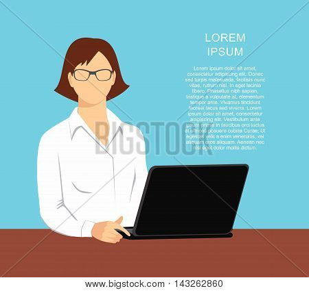 illustration of a woman in the office with a laptop isolated on blue background