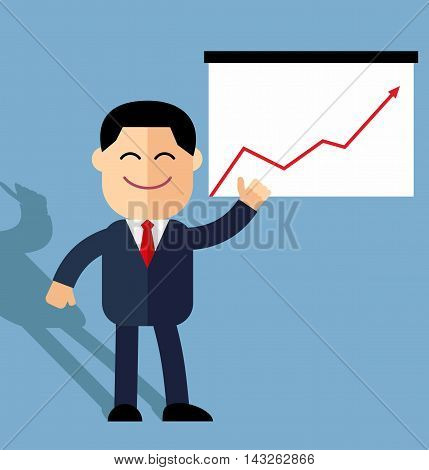 cute cartoon businessman points to growth statistics. Annual statistics.