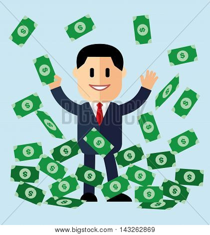 illustration of cartoon businessman on pile of money cash in jackpot concept. successful businessman money bills pile, vector illustration