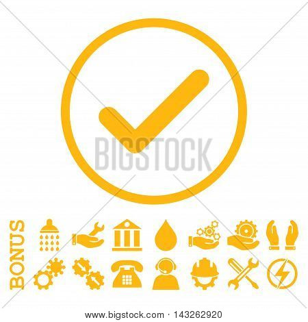 Ok glyph icon. Image style is a flat pictogram symbol inside a circle, yellow color, white background. Bonus images are included.