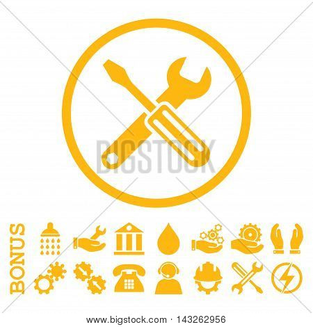 Options glyph icon. Image style is a flat pictogram symbol inside a circle, yellow color, white background. Bonus images are included.