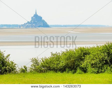 Landscape of Brittany and Mont Saint-Michel - tidal island town and abbey. France