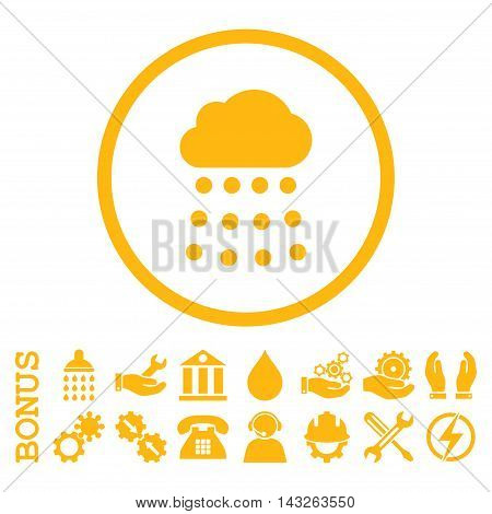Rain Cloud glyph icon. Image style is a flat pictogram symbol inside a circle, yellow color, white background. Bonus images are included.