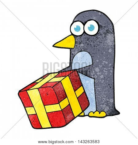 freehand textured cartoon penguin with christmas present