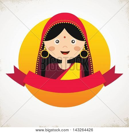 Illustration of the face of an Indian girl in colorful sari. vector illustration