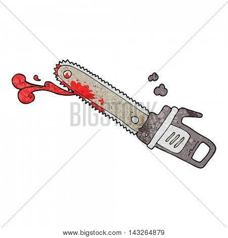 freehand textured cartoon bloody chainsaw