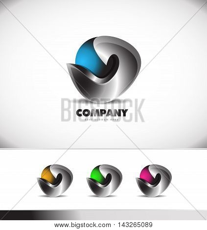 Blue metal metallic sphere logo design 3d icon vector company element template games media corporate business