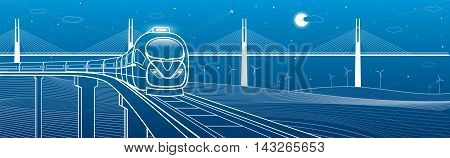 Train goes over the railway on the background of cable-stayed bridge and wind turbines, transportation and technology illustration, vector design art