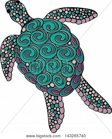 Hand Drawn Vector Ornate Turtle Illustration