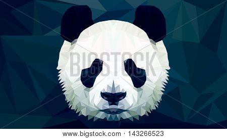 panda head polygon isolated vector low poly