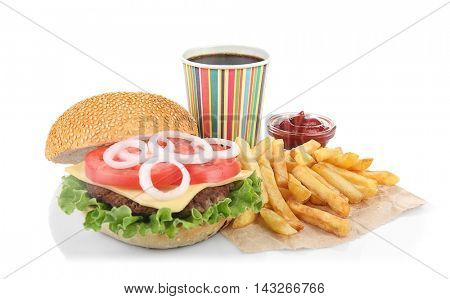 Tasty hamburger with french fries and coke, isolated on white