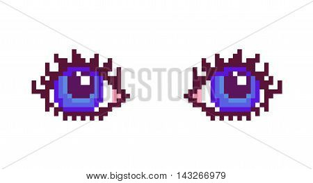 Vector illustration pixel art woman blue eyes with long eyelashes isolated on white background.