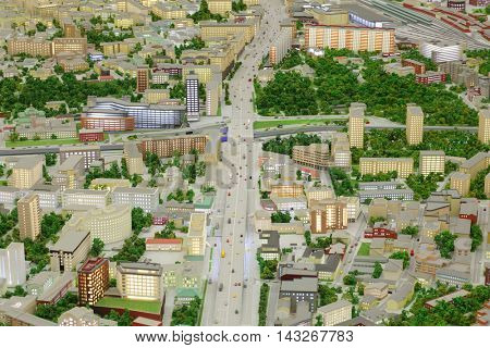 MOSCOW - DEC 20, 2014: Miniature of Moscow with illumination  in VDNKH exhibition