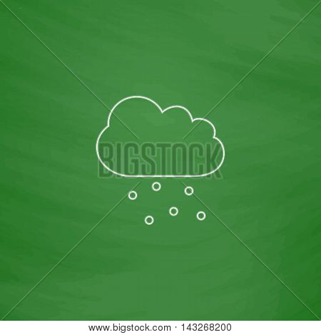 hail Outline vector icon. Imitation draw with white chalk on green chalkboard. Flat Pictogram and School board background. Illustration symbol
