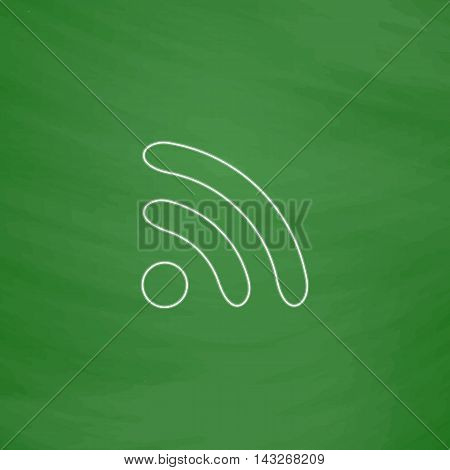 WiFi zone Outline vector icon. Imitation draw with white chalk on green chalkboard. Flat Pictogram and School board background. Illustration symbol