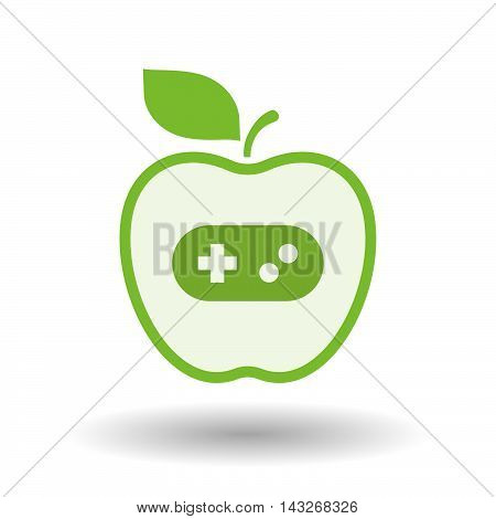 Isolated  Line Art Apple Icon With A Game Pad