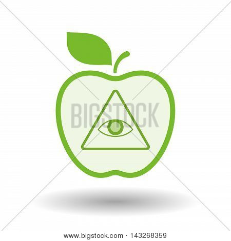 Isolated  Line Art Apple Icon With An All Seeing Eye