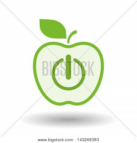 Isolated  Line Art Apple Icon With An Off Button