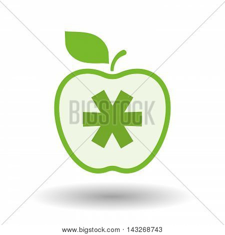 Isolated  Line Art Apple Icon With An Asterisk