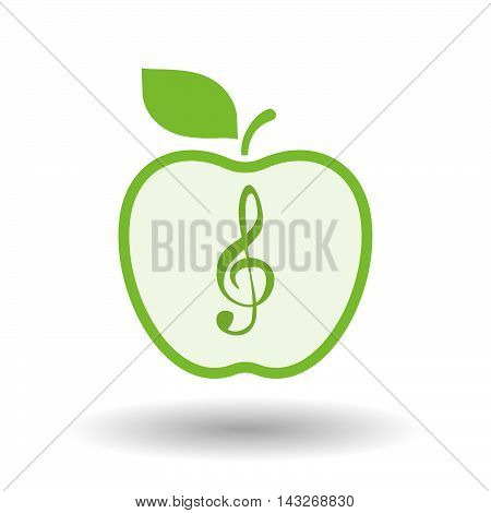 Isolated  Line Art Apple Icon With A G Clef