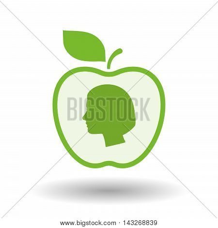 Isolated  Line Art Apple Icon With A Female Head