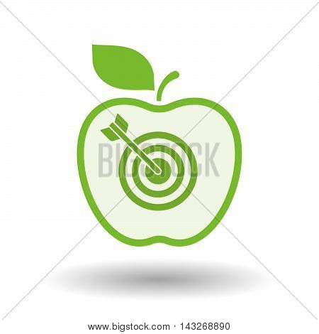Isolated  Line Art Apple Icon With A Dart Board