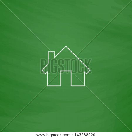 Home Outline vector icon. Imitation draw with white chalk on green chalkboard. Flat Pictogram and School board background. Illustration symbol