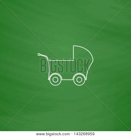 Baby Stroller Outline vector icon. Imitation draw with white chalk on green chalkboard. Flat Pictogram and School board background. Illustration symbol