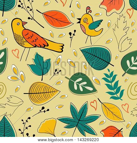 Autumn pattern with birds, flowers and leaves. vector illustration