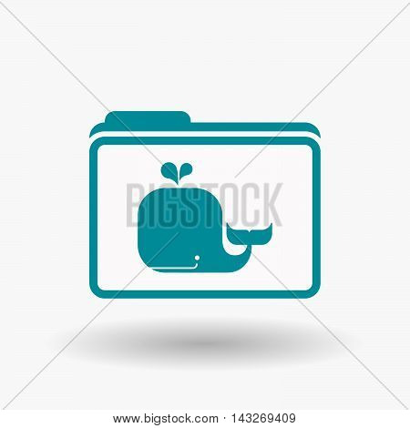 Isolated  Line Art  Folder Icon With A Whale
