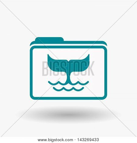 Isolated  Line Art  Folder Icon With A Whale Tail