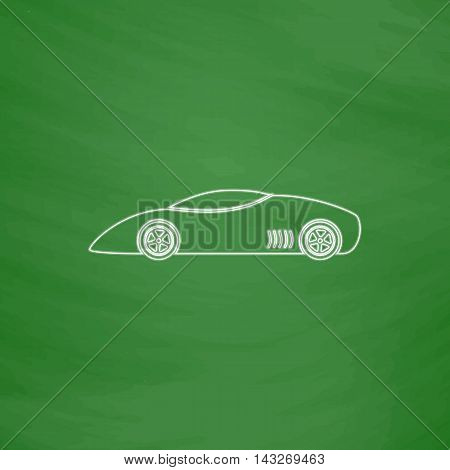 sport car Outline vector icon. Imitation draw with white chalk on green chalkboard. Flat Pictogram and School board background. Illustration symbol