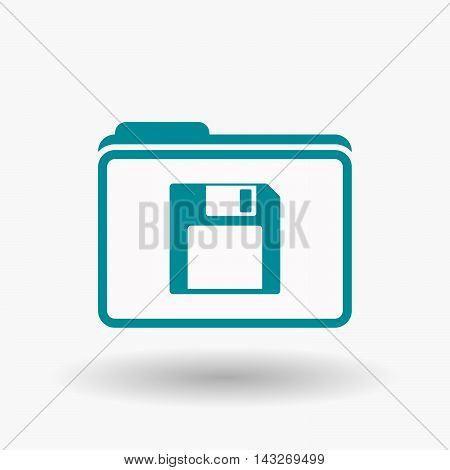Isolated  Line Art  Folder Icon With A Floppy Disk