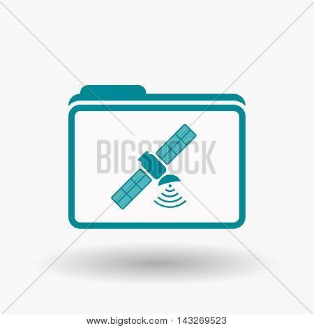 Isolated  Line Art  Folder Icon With A Satellite
