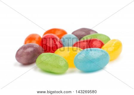 multi color Jelly Beans on white background